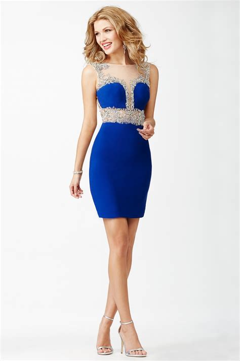 jovani jvn blue fitted homecoming dress