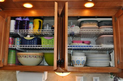 rv organization tips kitchen space cabinets easy saving efficient tension rods vertically