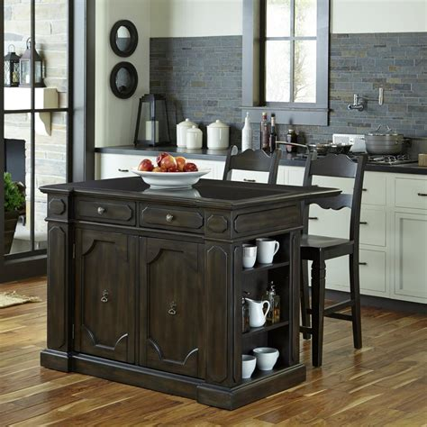 home styles nantucket black kitchen island  granite top    home depot