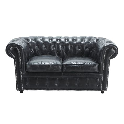 Canape Chesterfield 2 Places Convertible by Canap 233 Capitonn 233 Chesterfield 2 Places En Cuir Noir