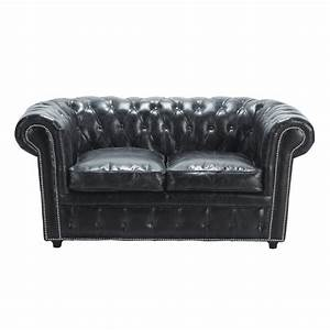 canape capitonne chesterfield 2 places en cuir noir With canapé cuir chesterfield 2 places