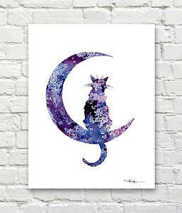 Abstract Black Cat Watercolor by Black Cat Moon Abstract Watercolor Painting Print By