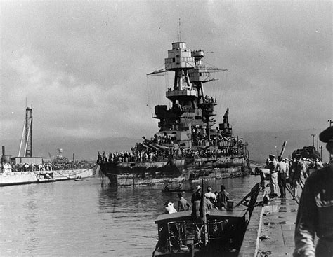 Boat Salvage Tennessee by File Nevada Enters Drydock On 18 Feb 1942 After Refloating