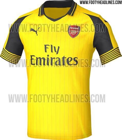 Arsenal 2016/17 Red Home, Yellow away & Black third kits (Leaked)