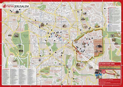 detailed tourist map  jerusalem maps jerusalem map