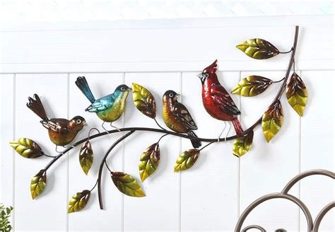 birds on leaf branch iron wall decor cardinal blue robin wtextural detail wall decor