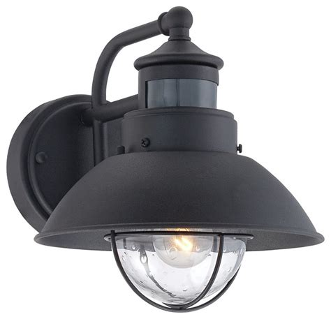 fallbrook black 9 quot high motion sensor outdoor wall light