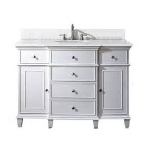 avanity 48 inch w vanity in white finish with marble top in carrara white the home