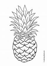 Coloring Pages Printable Pineapple Fruit Fruits Drawing Sheets Pattern Worksheets 4kids Books sketch template
