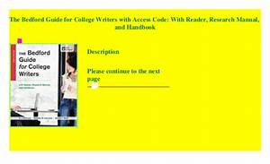 The Bedford Guide For College Writers With Access Code