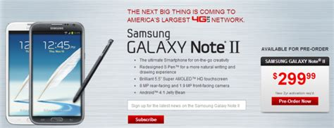 verizon lists samsung galaxy note ii available for pre order highlights a november 27th release