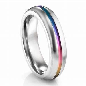 rainbow ti ring 6mm rounded profile titanium ring ring With rainbow wedding rings