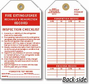Fire extinguisher checklist tags cardstock and vinyl tags for Fire extinguisher inspection tag template
