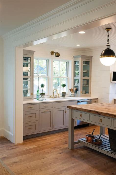 gray cabinets  backs  cabinets painted blue