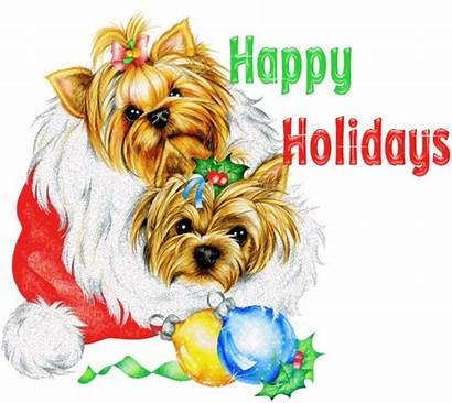 Holidays Happy Christmas Holiday Yorkie Glitter Greetings
