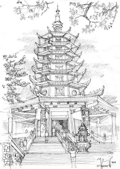 Pagoda Semarang Pencil Sketch | sketch, drawing