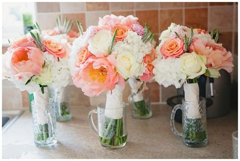 Coral Wedding Flowers Peonies And Roses Bouquets