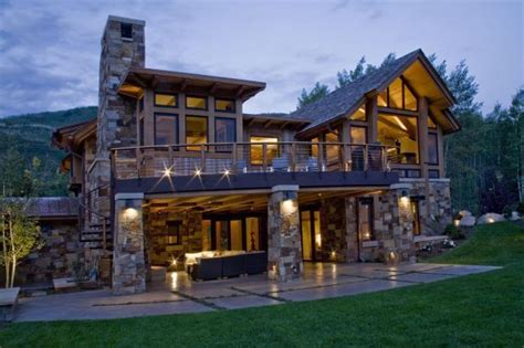 lodge home exterior in steamboat springs concrete patio