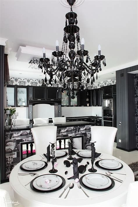 Black Chandelier Kitchen by Black And White Kitchen With A Chandelier Also But