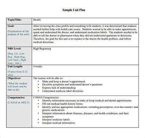 coe lesson plan 8 unit plan sles sle templates
