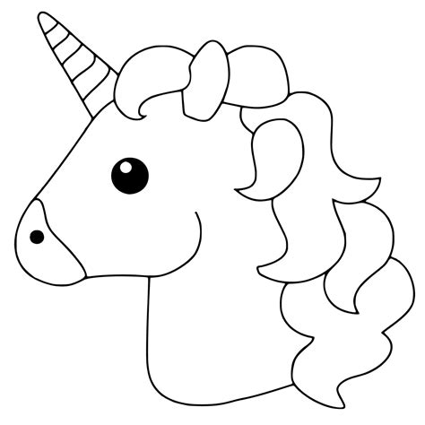 unicorn template free printable emoji coloring pages