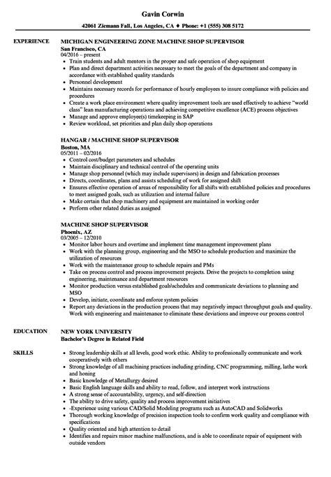 Shop Foreman Resume by Machine Shop Supervisor Resume Sles Velvet