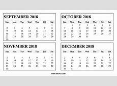Oct Nov Dec 2018 Calendar Calendar Template Printable