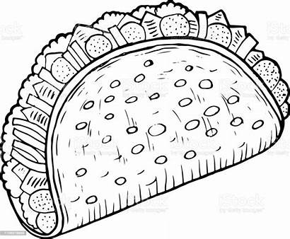 Coloring Taco Cartoon Mexican Doodle Graphic Adults