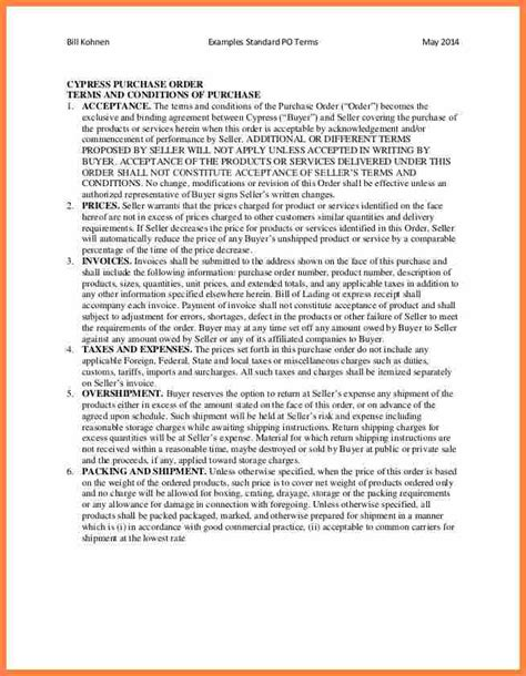 Terms And Conditions Template For Shop by 7 Purchase Order Terms And Conditions Template Uk