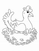 Coloring Nest Hen Sitting Sheet sketch template