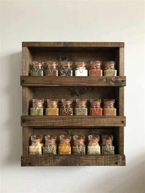 Rustic Wood Spice Rack Wood Wall Mounted Spice Organizer