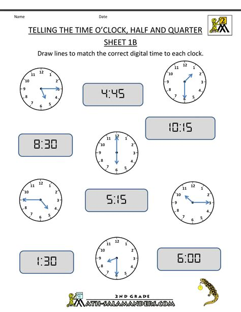second grade time kidz activities