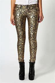 Metallic Gold Black Skinny Jeans