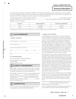 fidelity simple ira forms simple ira plan fillable summary fill online printable