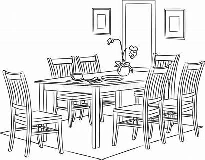 Dining Outline Sketch Illustrazione Line Chair Vettore