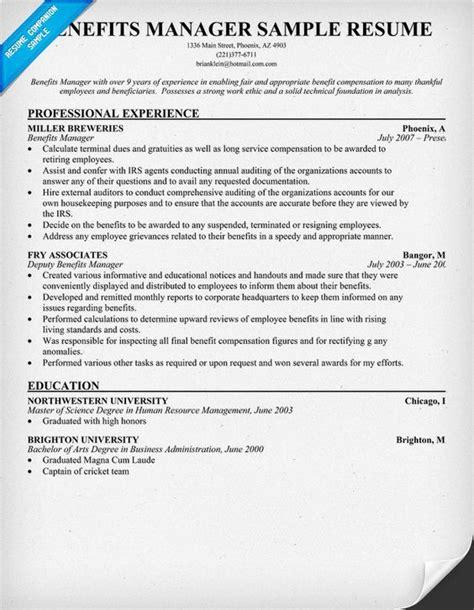 benefits manager resume exle resume sles across