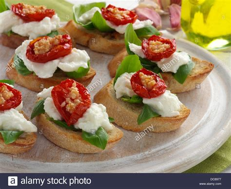 canapes finger food bruschetta finger food snacks canapes stock photo