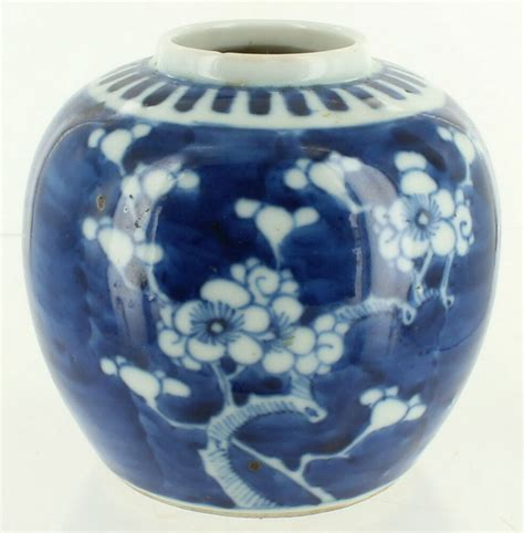 antique chinese export hand painted ginger jar blue white