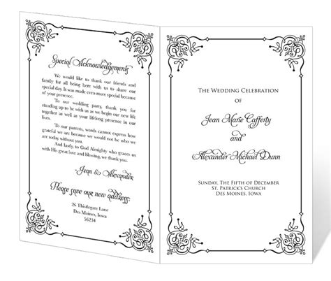 free printable wedding program 8 best images of printable wedding program templates free downloads free printable wedding