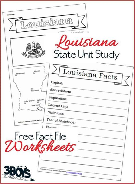 louisiana state fact file worksheets  boys   dog