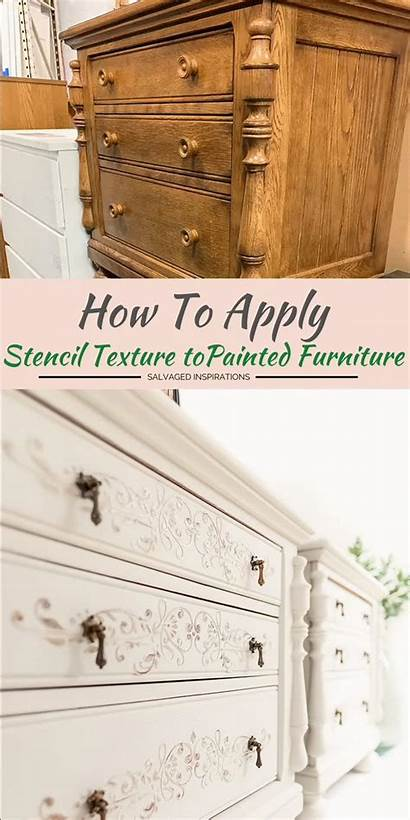 Furniture Stencil Texture Makeover Painted Mustard Seed