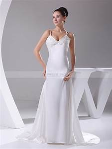 Beaded spaghetti strap elastic satin wedding gown for Spaghetti strap wedding dress
