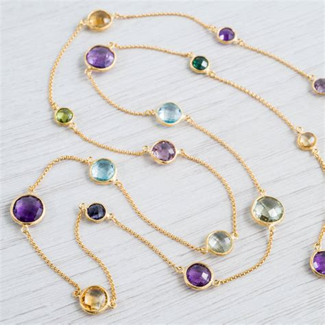 multi gemstone necklace chennai 18ct gold vermeil and multi gemstone necklace by