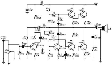 Audio Power Amplifier Circuit Simple Schematic