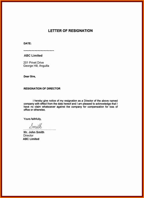 resignation letter template resign letter job
