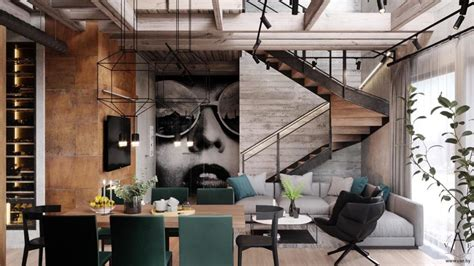An Industrial Home With Warm Hues : Warm Industrial Style House (with Layout