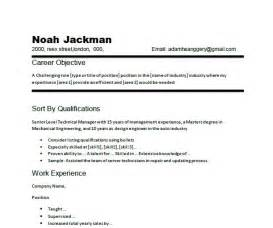 Work Objective For Resume by Resume Career Objective Exle Chronological Resume Of Technical Manager