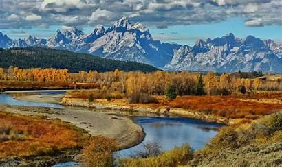 Wyoming Teton Grand Mountains National Autumn Park