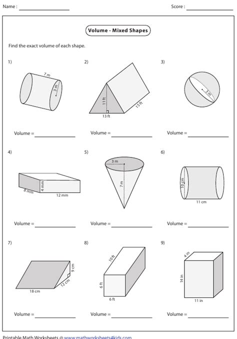 volume mixed shapes worksheet  answers