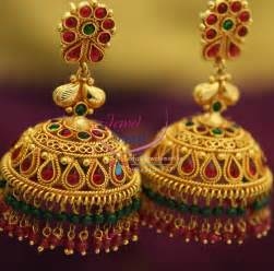 chandbali earrings online j1605 broad grand gold design temple kempu ruby emerald